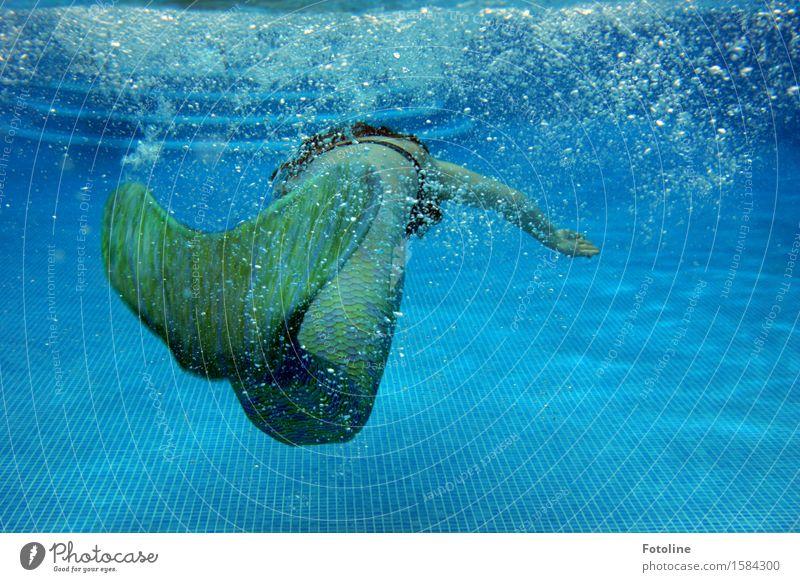 Tauchgang Mensch Jugendliche blau grün Sommer Junge Frau Wasser Mädchen feminin Schwimmen & Baden hell Kindheit nass Urelemente tauchen Märchen