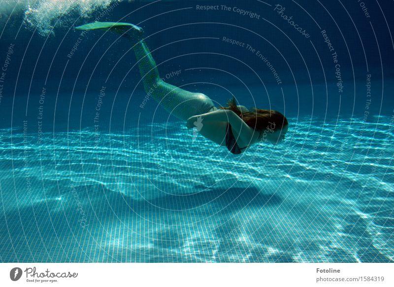 Tauchgang Mensch Junge Frau Jugendliche Haare & Frisuren Arme Beine 1 Urelemente Wasser Sommer Schönes Wetter maritim nass blau grün Meerjungfrau Fabelwesen