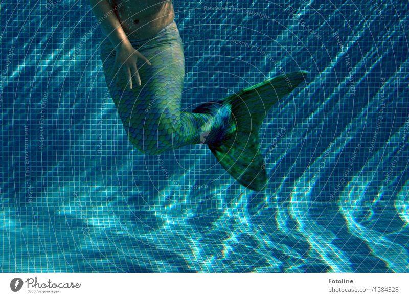Tanz unter Wasser Mensch feminin Mädchen Kindheit Arme Hand Finger Urelemente Sommer nass blau grün Meerjungfrau Fabelwesen Schwimmhilfe Schwimmen & Baden