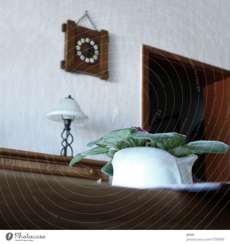 Bochum Indoor Zimmerpflanze Wohnzimmer Eiche Blumentopf Wanduhr Wohnung Türrahmen Tapete braun Stehlampe Grünpflanze Möbel Altdeutsch