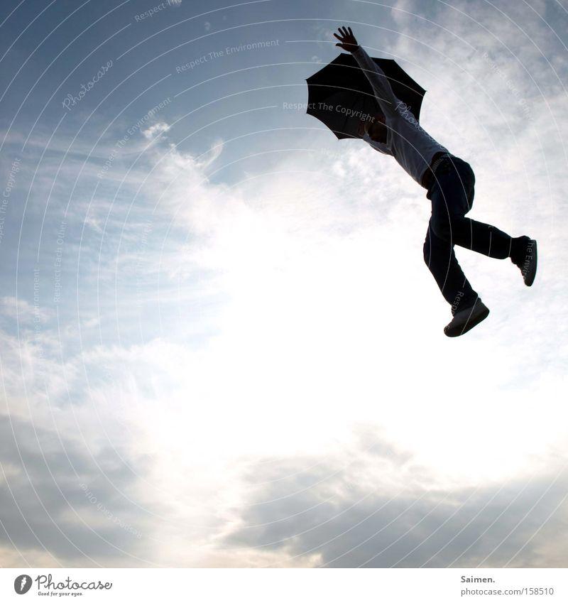 sprung ins Ungewisse Schatten Freude Leben Freiheit Himmel entdecken springen neu Mut Angst anstrengen Schwäche Lebenslage ungeheuerlich ungewiss unsicher Panik