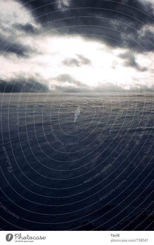 cold wind Winter Hügel Horizont Himmel Wolken Wind kalt Eis Schneedecke Sturm wehen