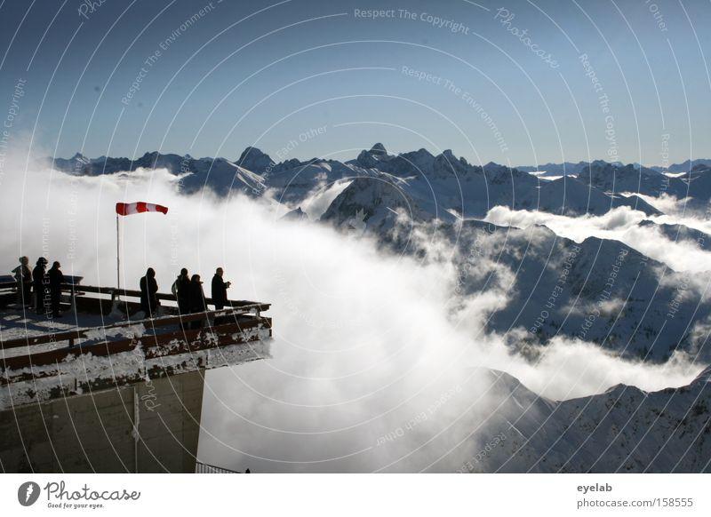 Unverbaubar Himmel Wolken Berge u. Gebirge kalt Mensch Plattform Wind Aussicht Ferne Horizont Gipfel Station Bergstation Ferien & Urlaub & Reisen
