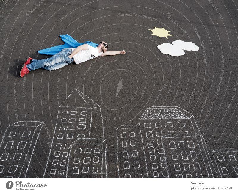 SuperDude maskulin Mann Erwachsene Körper 1 Mensch 30-45 Jahre fliegen gemalt Comic Held Stadt Skyline Sonne Wolken Asphalt Mut Umhang Hilfsbereitschaft retten