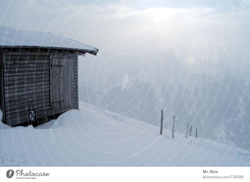 wochenendhäuschen Winter Schnee Berge u. Gebirge Nebel Alpen Hütte Österreich Schneelandschaft Alm Bundesland Tirol Holzhütte Schneehütte