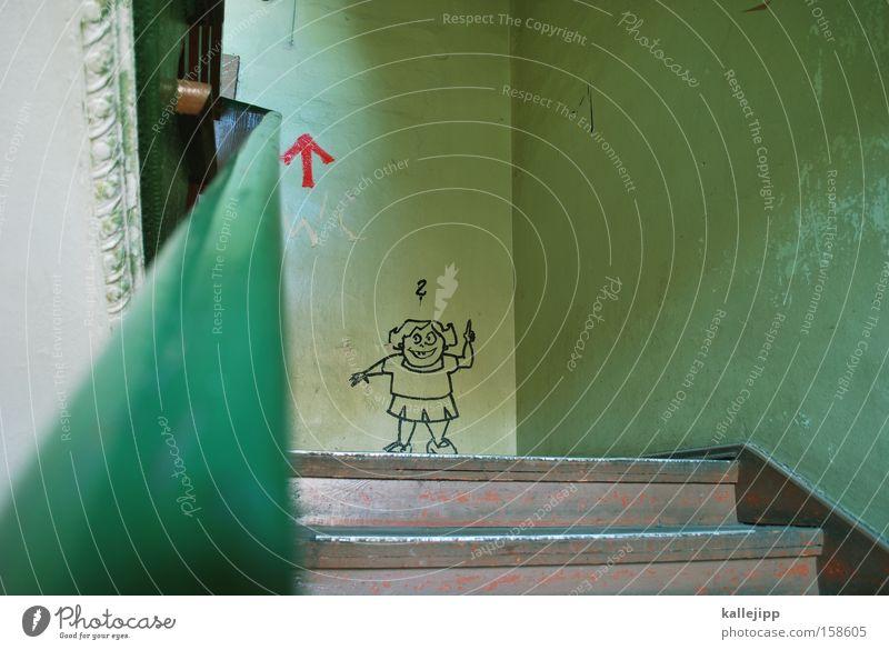 klassenbeste Mädchen Treppe Graffiti Leistung Top Aufsteiger Karriere Comic lustig Witz Pfeil Richtung Orientierung Urkunde Schriftstück Schulgebäude