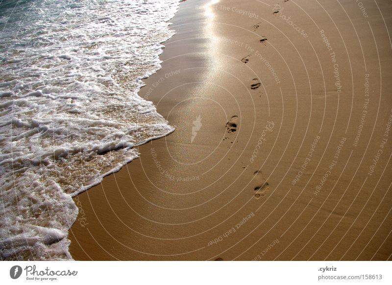 Fußspuren Spuren Wasser Meer Strand Leben Wege & Pfade Sand Wellen Küste Brasilien Rio de Janeiro