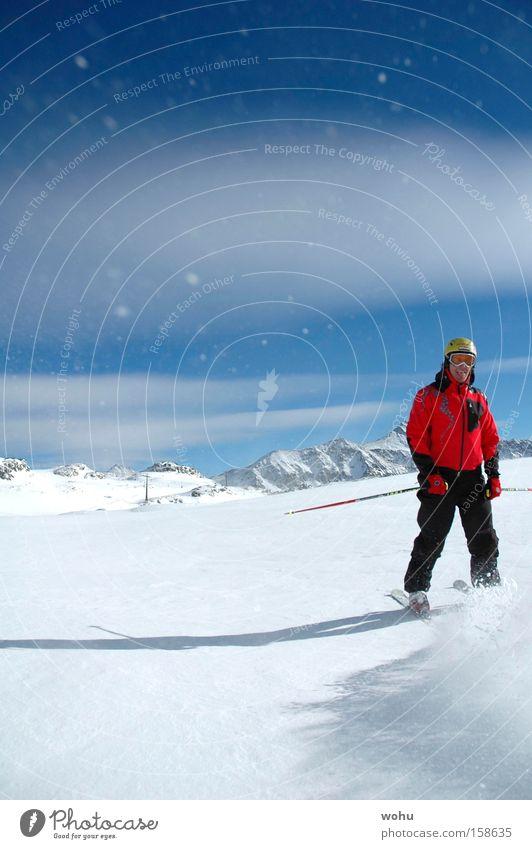 fakie Schnee Schneefall Skifahren Skier Berge u. Gebirge Blauer Himmel Wintersport Tiefschnee springen Ferien & Urlaub & Reisen Freude Österreich Pulverschnee