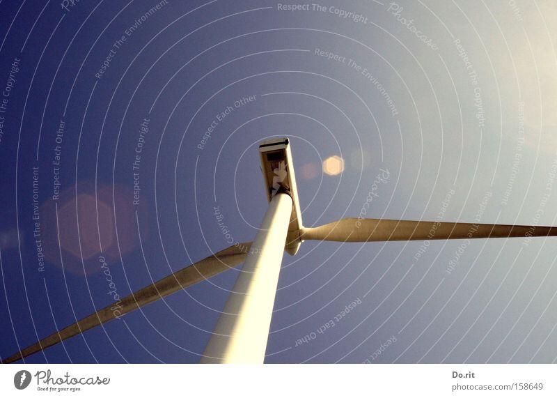 Rückenwind weiß blau Windkraftanlage drehen Schwung Erneuerbare Energie