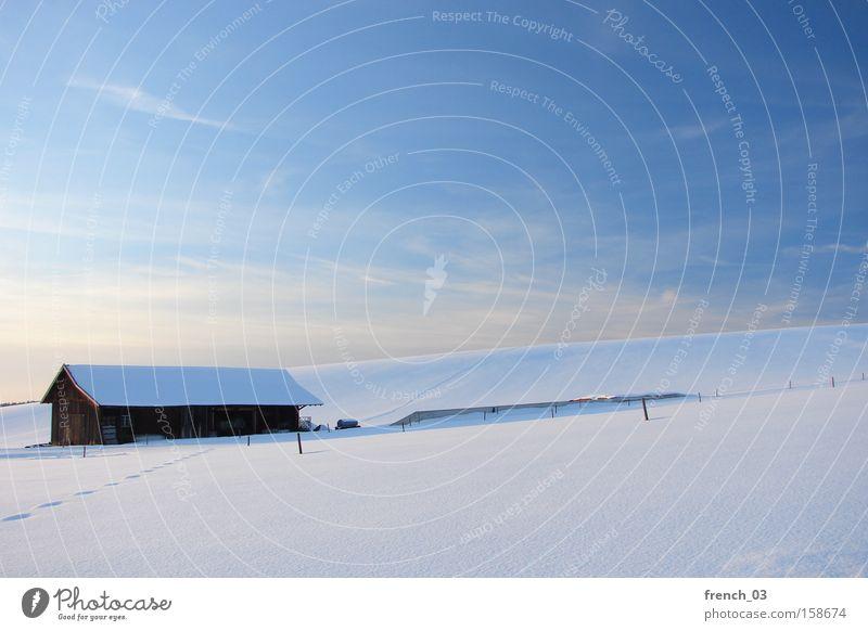 winterlich schön Ferne Winter Schnee Natur Landschaft Himmel Wolken Horizont Schönes Wetter Berge u. Gebirge Dorf Hütte kalt natürlich blau weiß Stimmung