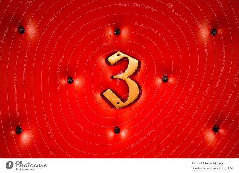 three Häusliches Leben Wohnung Zeichen Ziffern & Zahlen Schilder & Markierungen gelb gold rot schwarz Bordell 3 Hotel Hotelzimmer Zuhälter Prostituierte