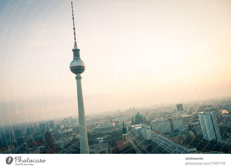 Sunset with TV tower over Berlin Himmel Ferien & Urlaub & Reisen Stadt blau Freude gelb Straße Architektur Stil Lifestyle Business Deutschland orange Tourismus
