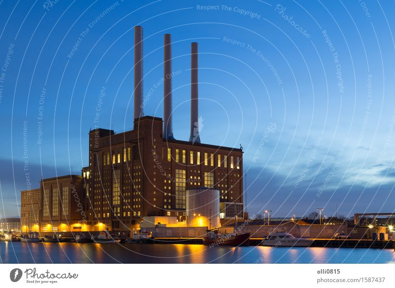 Svanemolle-Kraftwerk in Kopenhagen, Dänemark Umwelt Architektur Gebäude Energie Industrie Abenddämmerung Schornstein Station Umweltverschmutzung Heizung heizen
