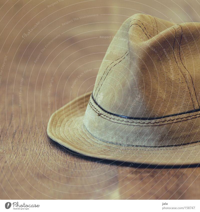 Hut von Opa Leder Kopfbedeckung alt vergessen schick braun beige Bekleidung Accessoire Nahaufnahme Herrenmode