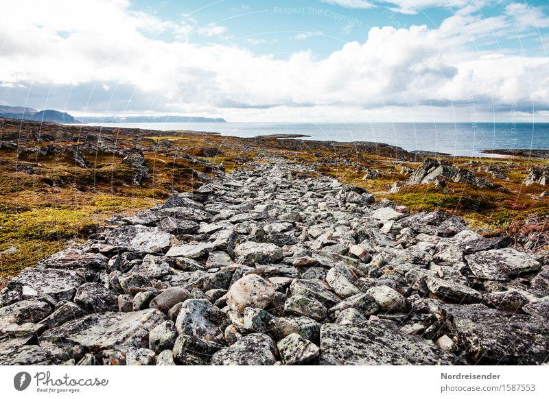Leben, ein steiniger Weg..... Ferien & Urlaub & Reisen wandern Baustelle Natur Landschaft Wasser Himmel Wolken Schönes Wetter Felsen Küste Fjord Meer Verkehr