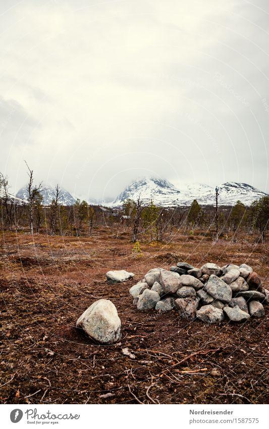 Mystik der Tundra Himmel Natur Ferien & Urlaub & Reisen Landschaft Einsamkeit Wolken ruhig Ferne dunkel Wald Berge u. Gebirge Wege & Pfade Stimmung Regen