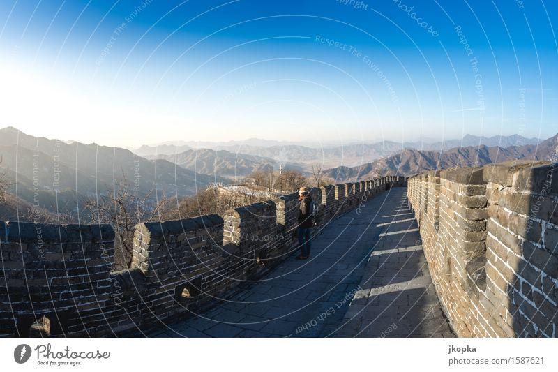 Ausblick auf der Chinesischen Mauer Ferien & Urlaub & Reisen Tourismus Abenteuer Ferne Freiheit Expedition Mensch feminin Junge Frau Jugendliche 1 18-30 Jahre