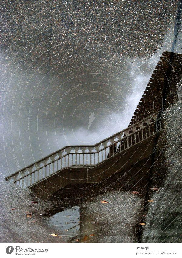 Transfer Gedeckte Farben Außenaufnahme Experiment abstrakt Reflexion & Spiegelung Ferien & Urlaub & Reisen Feierabend Wolken Unwetter Bahnhof Brücke Treppe