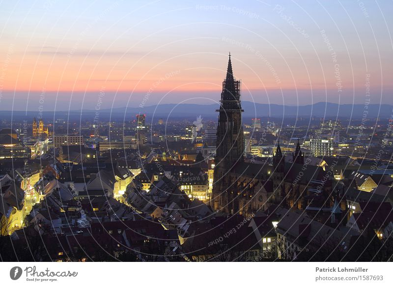 Ausblick auf Freiburg Tourismus Städtereise Umwelt Himmel Horizont Schönes Wetter Freiburg im Breisgau Baden-Württemberg Deutschland Europa Kleinstadt Stadt