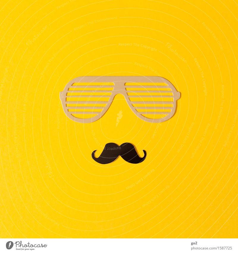 Brille und Bart Lifestyle Stil Freizeit & Hobby Basteln Papier Sonnenbrille Oberlippenbart Coolness einzigartig gelb Design Macho Machogehabe maskulin Farbfoto