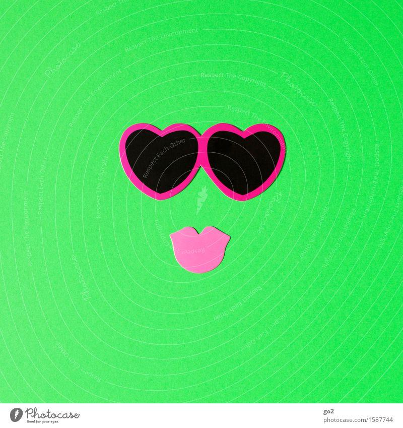 Rosa Brille Glück schön Gesicht Basteln Mund Accessoire Sonnenbrille Herz Küssen Fröhlichkeit Kitsch Klischee feminin grün rosa Gefühle Lebensfreude Liebe