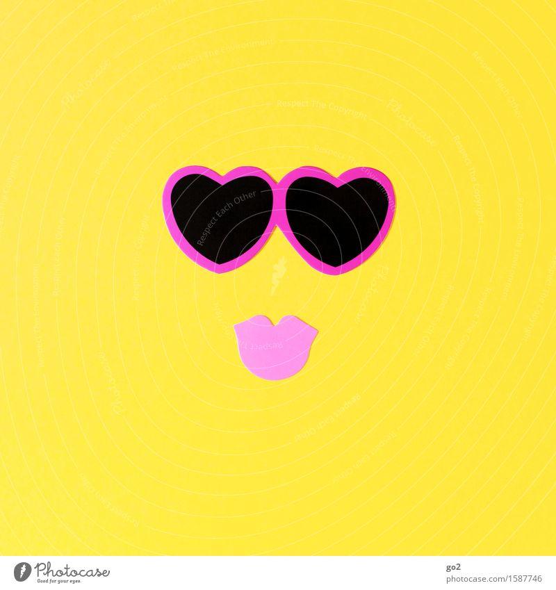 Uschi Freizeit & Hobby Basteln Geburtstag Mund Lippen Zeichen Herz Küssen Fröhlichkeit Glück Kitsch Erotik Klischee feminin gelb rosa Gefühle Lebensfreude