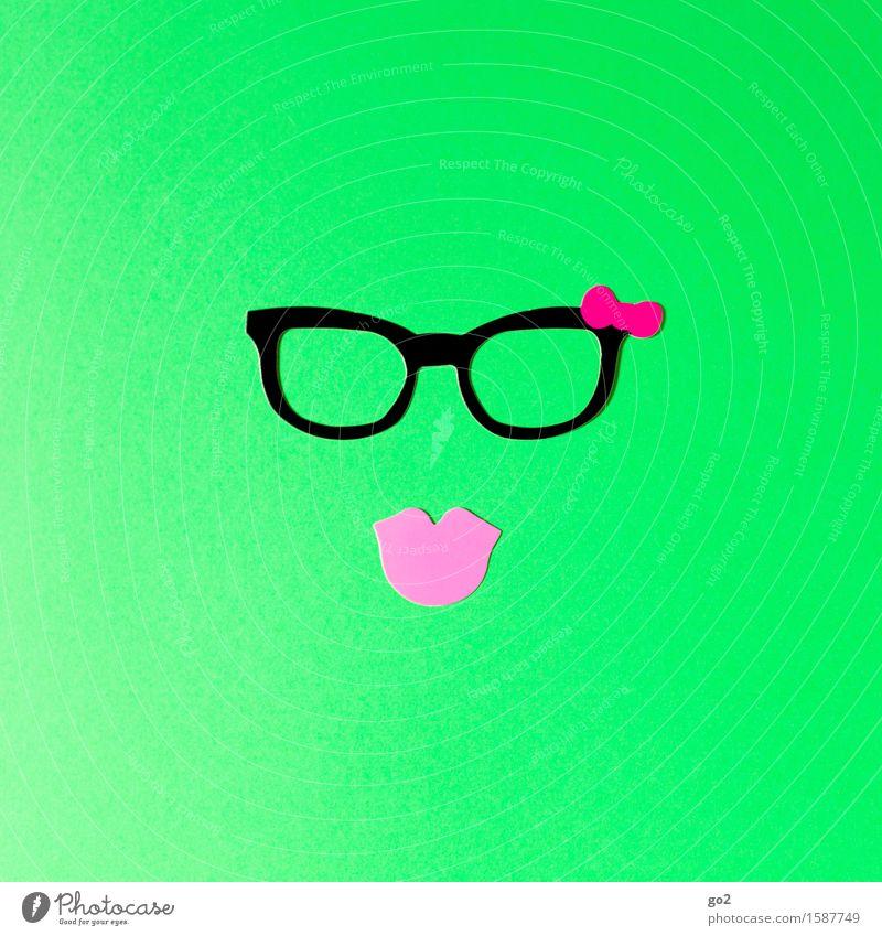 Mausi Lifestyle Stil Freizeit & Hobby Basteln feminin Mund Lippen Accessoire Brille Küssen einzigartig Erotik Klischee grün rosa schön Begierde Kitsch Farbfoto