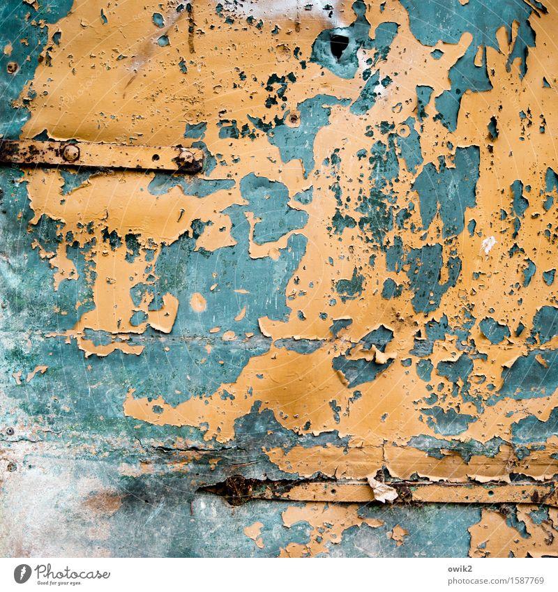 Fleckfieber Tür Blechtür Blechschaden Metall dehydrieren alt orange türkis Verfall Vergänglichkeit Zerstörung Scharnier Zahn der Zeit verfallen abblättern