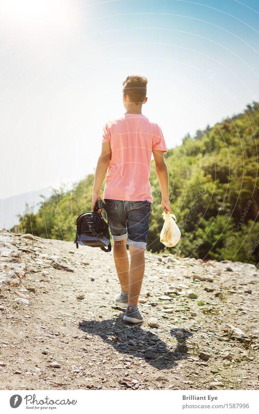 Single Bergtour Mensch Natur Ferien & Urlaub & Reisen Jugendliche Sommer Erholung Einsamkeit Ferne Berge u. Gebirge Umwelt Leben Frühling natürlich Sport