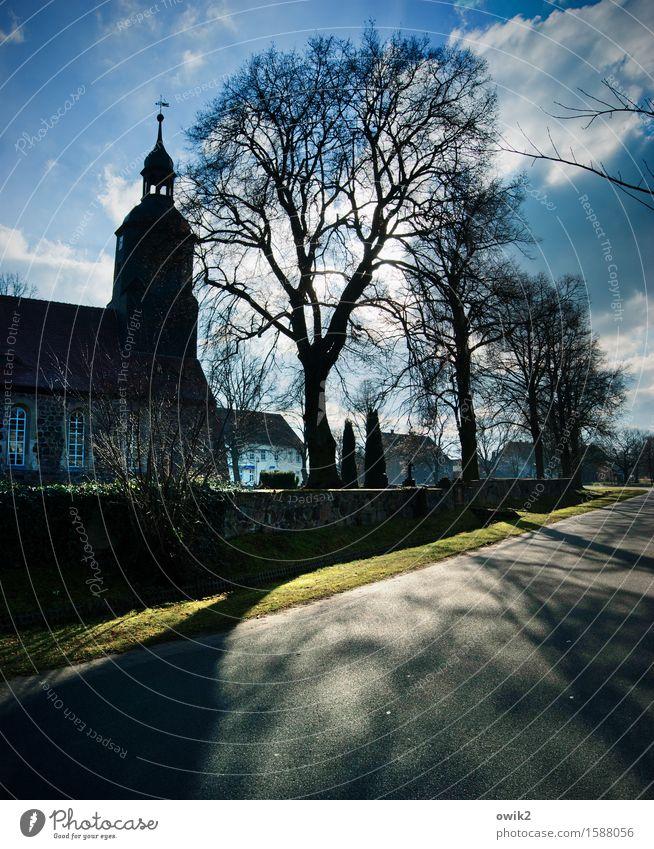Mauerstreifen Himmel Natur alt Baum Wolken Haus Umwelt Straße Frühling Gras Deutschland Wetter leuchten Idylle Sträucher