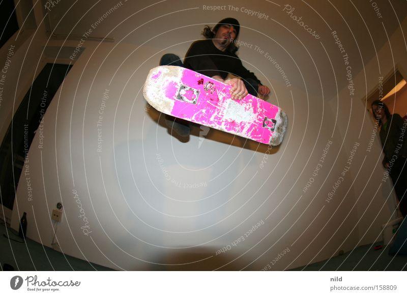 trash Freude Wohnung rosa Aktion Skateboarding Skateboard Trick Funsport Parkdeck Fischauge Sportpark