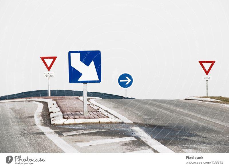 Dieser Weg weiß blau rot Wege & Pfade Schilder & Markierungen Pfeil Verkehrswege leicht Rechteck Dreieck Sinn
