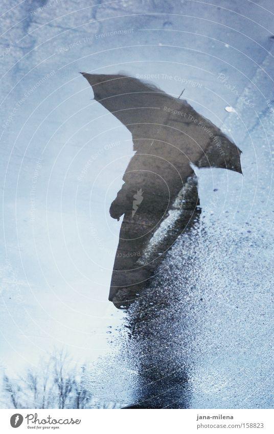 regenschirmmann Mann Wasser Winter kalt Regen nass Krankheit Vergänglichkeit Regenschirm frieren Schirm Mantel Schatten Pfütze Pflastersteine