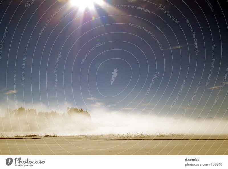 Deutsche Winterruhe Schnee Eis Nebel Dunst Sonnenlicht Landschaft Feld Himmel