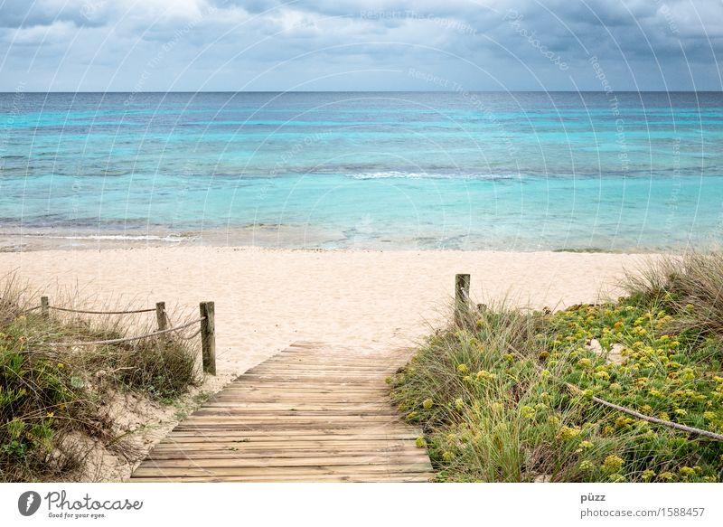 Formentera Ferien & Urlaub & Reisen Tourismus Ferne Freiheit Sommer Sommerurlaub Strand Meer Insel Natur Landschaft Sand Wasser Himmel Wolken Küste Mittelmeer