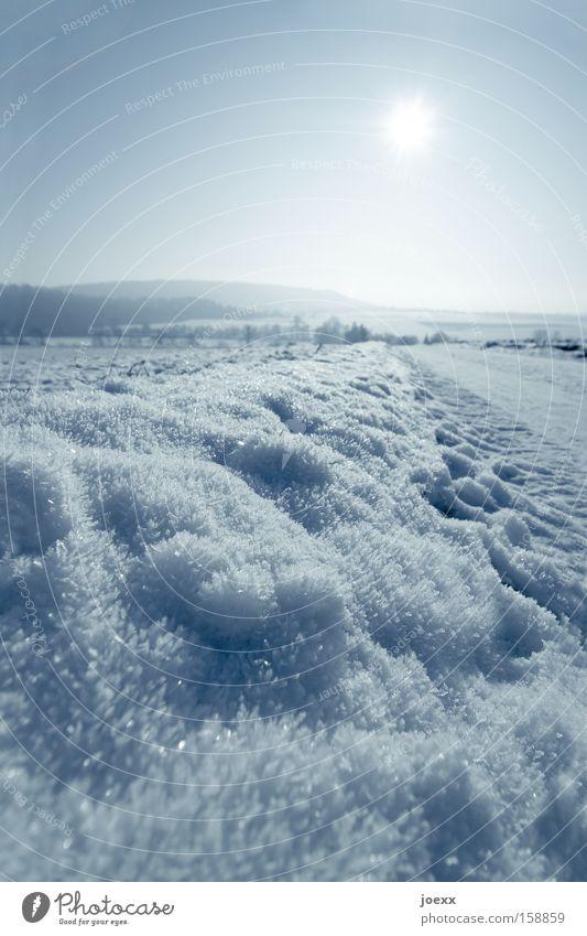 Sonne vs. Schnee Berge u. Gebirge Eis frieren Himmel kalt Kristallstrukturen Landschaft Natur Naturschutzgebiet Wege & Pfade Winter Wintertag Vergänglichkeit
