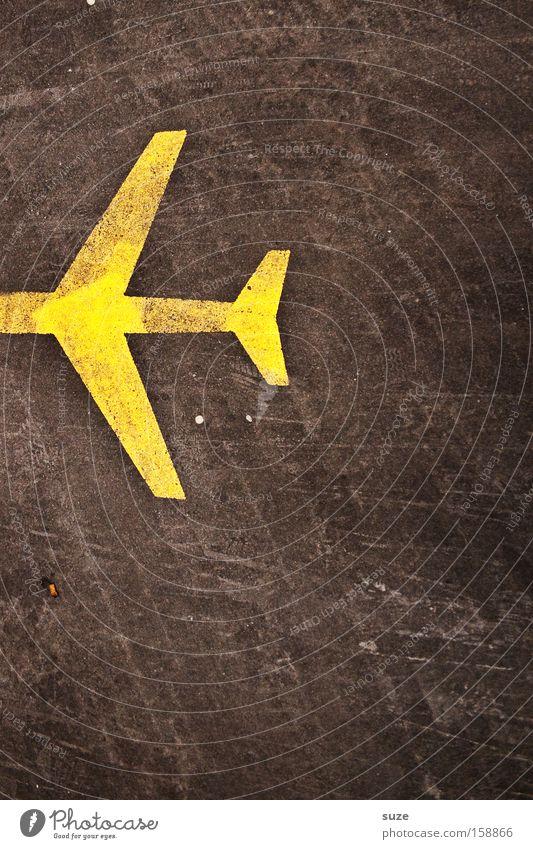 Luftpost gelb fliegen Schilder & Markierungen Platz Beton Flugzeug Luftverkehr Güterverkehr & Logistik Asphalt Zeichen Flughafen Post Teer Piktogramm Fahrbahnmarkierung Rollfeld