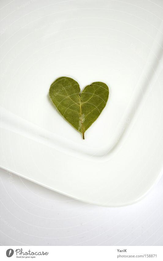 herzblatt weiß Blatt Liebe Ernährung hell Herz Tisch Kochen & Garen & Backen Küche Kräuter & Gewürze Teller Arbeit & Erwerbstätigkeit Geschirr kredenzen Vegetarische Ernährung