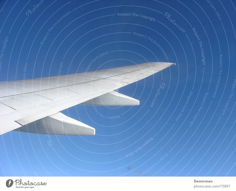 Über den Wolken... Flugzeug Tragfläche weiß Sommer Süden aufsteigen Abdeckung Ferien & Urlaub & Reisen Luftverkehr Himmel blau airplane blue