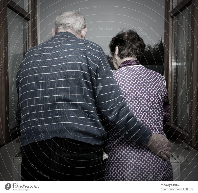 Gemeinsam alt werden Leben Großeltern Senior Großvater Großmutter Paar 60 und älter Fenster berühren Liebe träumen authentisch Zusammensein Glück Akzeptanz