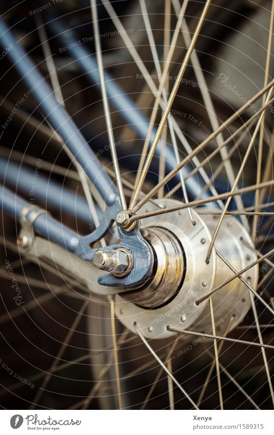 Verdreht Fahrrad Metall blau silber Speichen Rad durcheinander Schraube Außenaufnahme Nahaufnahme Menschenleer