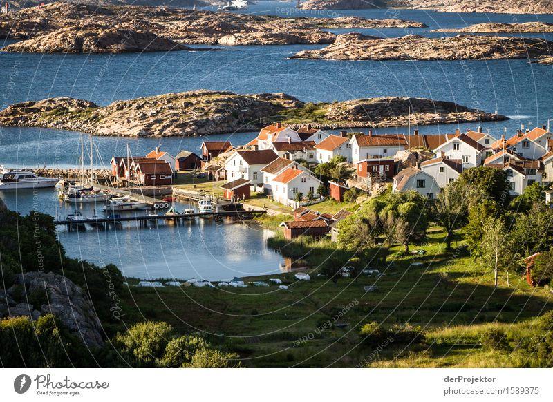 Kleines Fischerdorf auf den Schären Umwelt Natur Landschaft Pflanze Tier Sommer Schönes Wetter Hügel Felsen Wellen Küste Seeufer Strand Fjord Ostsee Insel Haus