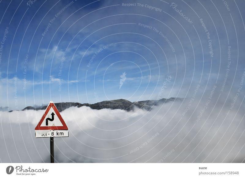 ... gen Himmel Berge u. Gebirge Wolken Nebel Verkehr Straße Wege & Pfade Schilder & Markierungen lustig blau Verkehrsschild Warnhinweis Kurve aufwärts Gott