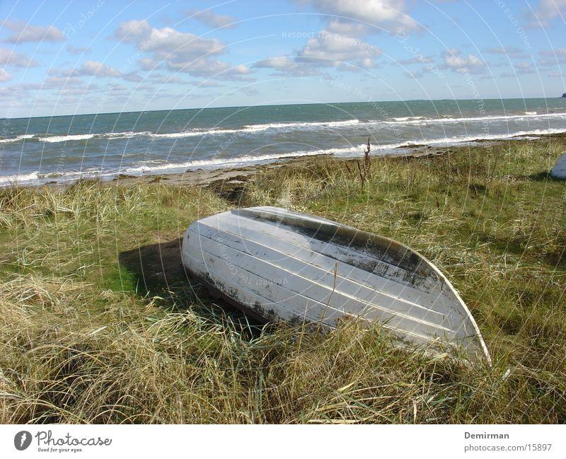 gestrandet 2 Strand Wasserfahrzeug weiß Wiese Einsamkeit Gras Schaum Meer schön Natur obskur Himmel Insel boat ship water ocean Dänemark lost