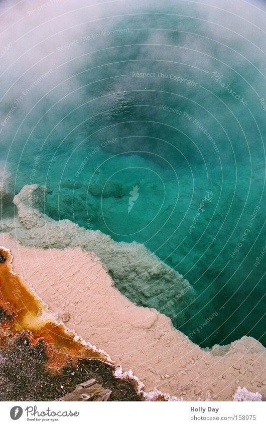 Heiß - Heißer - Yellowstone Wasser grün Farbe USA Schwimmbad Geruch Am Rand Wasserdampf Algen Paletten Bakterien Wyoming Yellowstone Nationalpark