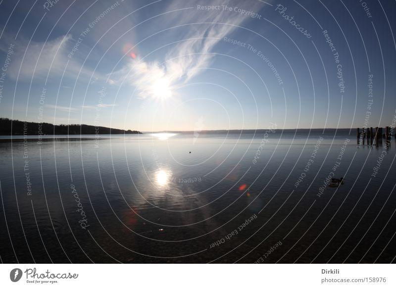 Sonne über dem Ammersee Wasser Himmel Sonne Wolken See Küste Starnberg Ammersee Herrsching am Ammersee