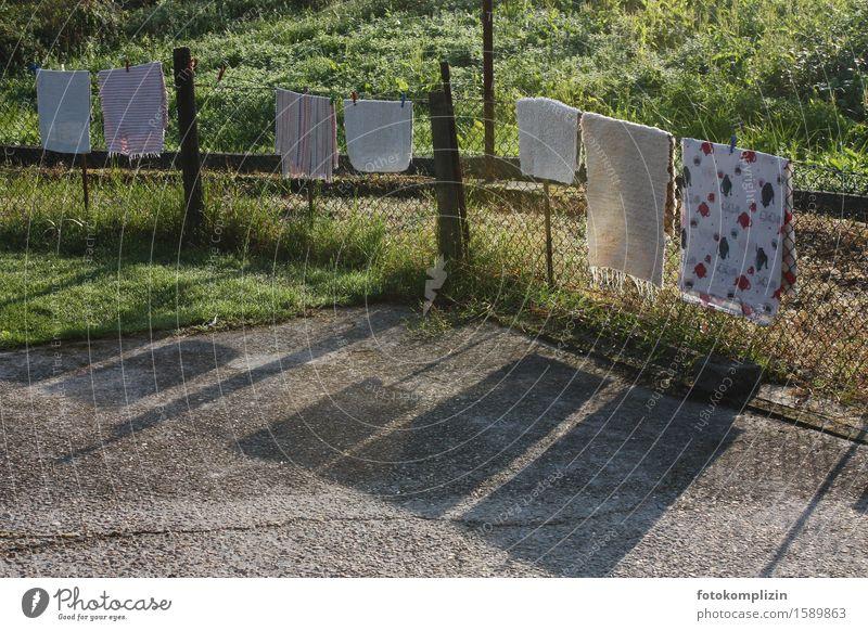 wäscheleinen ruhe Zaun Wäscheleine Maschendraht Maschendrahtzaun hängen werfen dreckig Sauberkeit trocken ruhig Reinlichkeit Nostalgie aufhängen Teppich