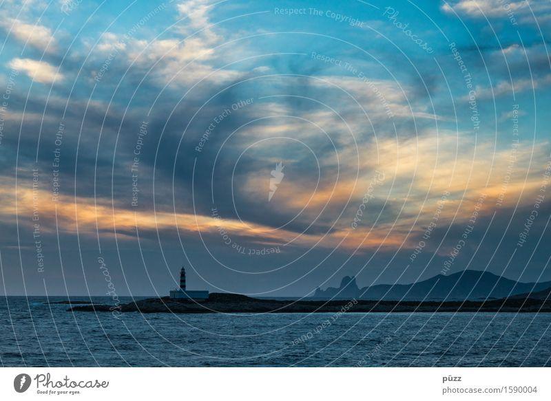 Ibiza Himmel Natur Ferien & Urlaub & Reisen blau Sommer Wasser Meer Landschaft Wolken Ferne gelb Küste Freiheit Felsen orange Tourismus