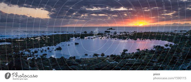 Sonnenuntergang Umwelt Natur Landschaft Urelemente Wasser Himmel Wolken Horizont Sonnenaufgang Sonnenlicht Klima Schönes Wetter Küste Strand Meer dunkel Ferne