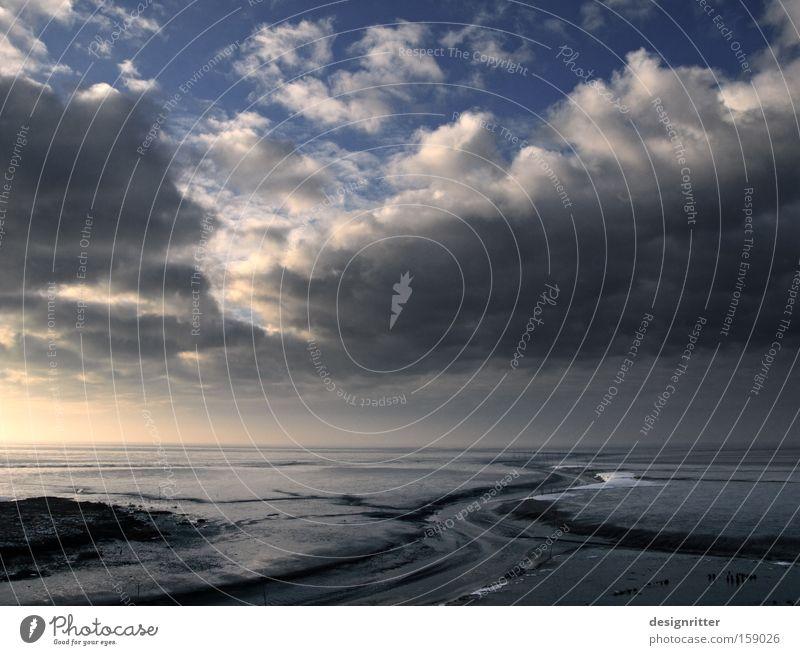 Fahrwasser Nordsee Wattenmeer Schlick Ebbe Flut Wassermassen Gezeiten Spuren Wege & Pfade Wasserfahrzeug Schifffahrt dramatisch Dramatik Wetter Wind Sturm Meer